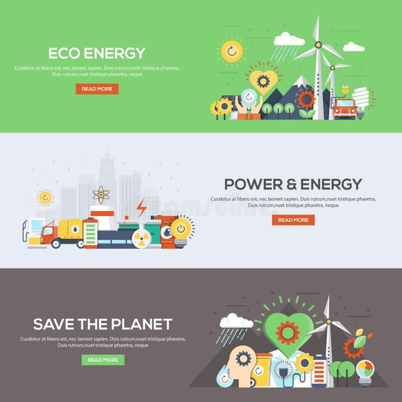 De vlak ontworpen Energie, de Macht en de Energie van bannerseco royalty-vrije illustratie