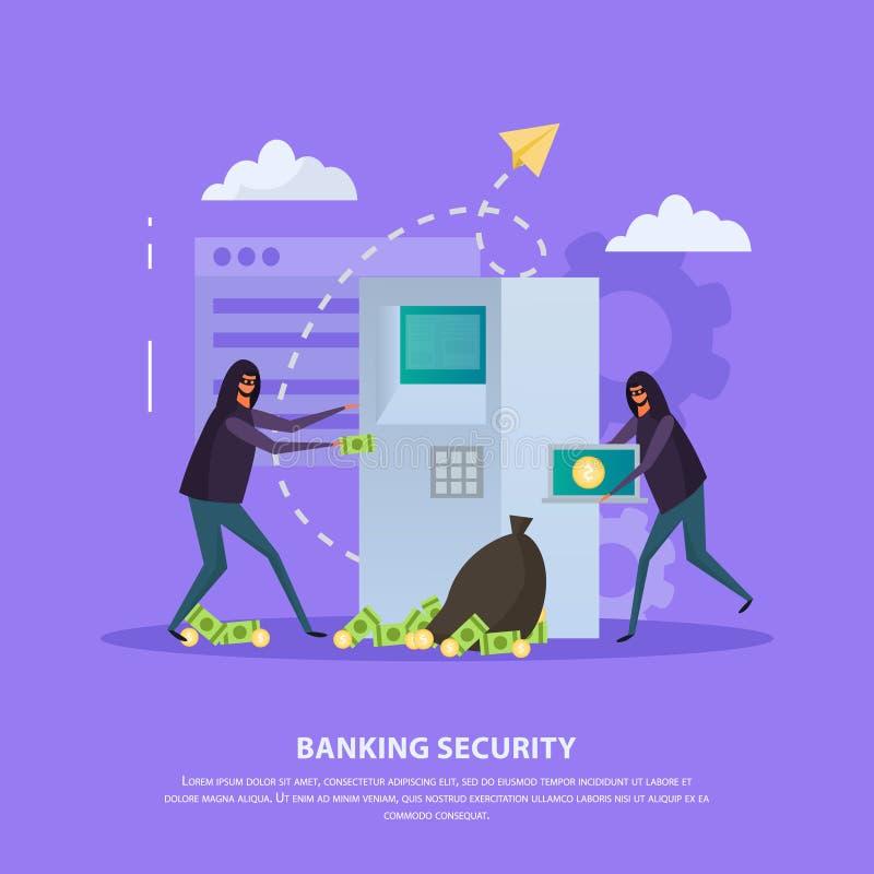 De Vlakke Achtergrond van de bankwezenveiligheid royalty-vrije illustratie