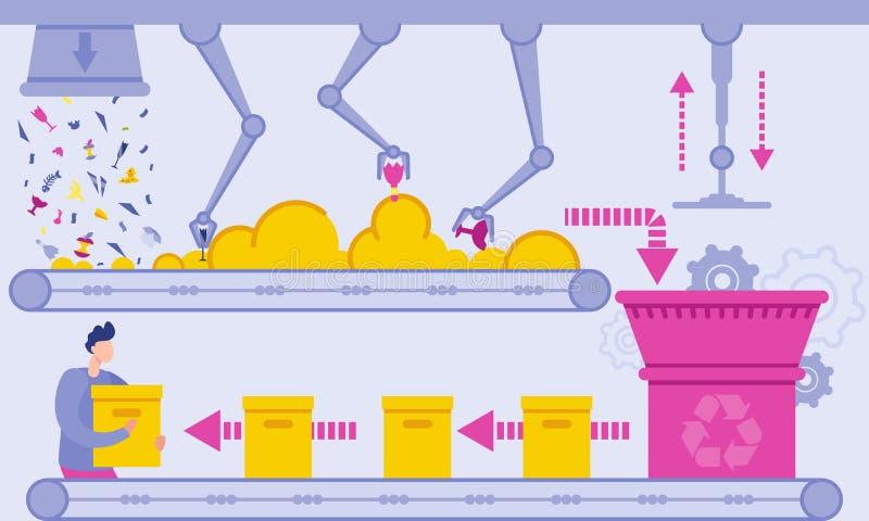 De vlakke Afval Vectorillustratie van de Recyclingsinstallatie vector illustratie
