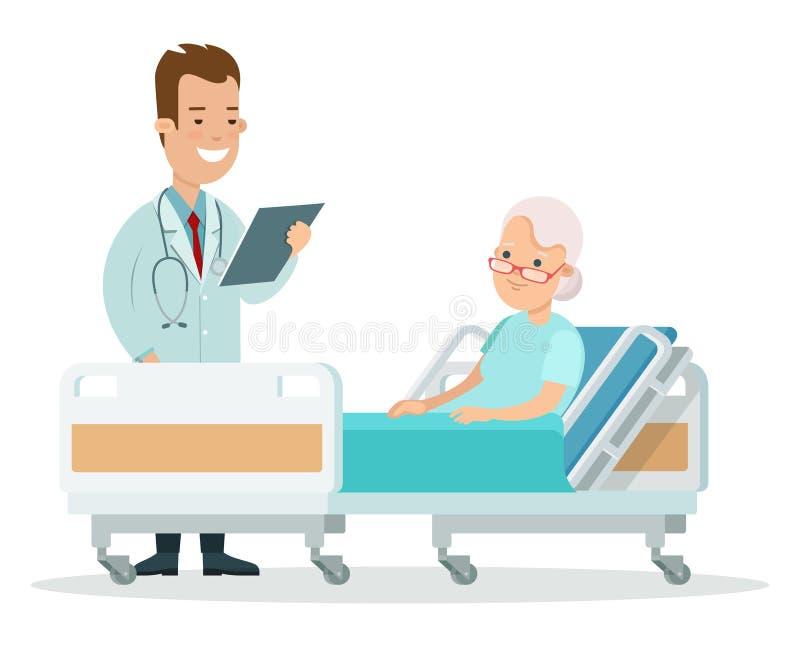 De vlakke arts geeft oude vrouwengezondheid patiënt royalty-vrije illustratie