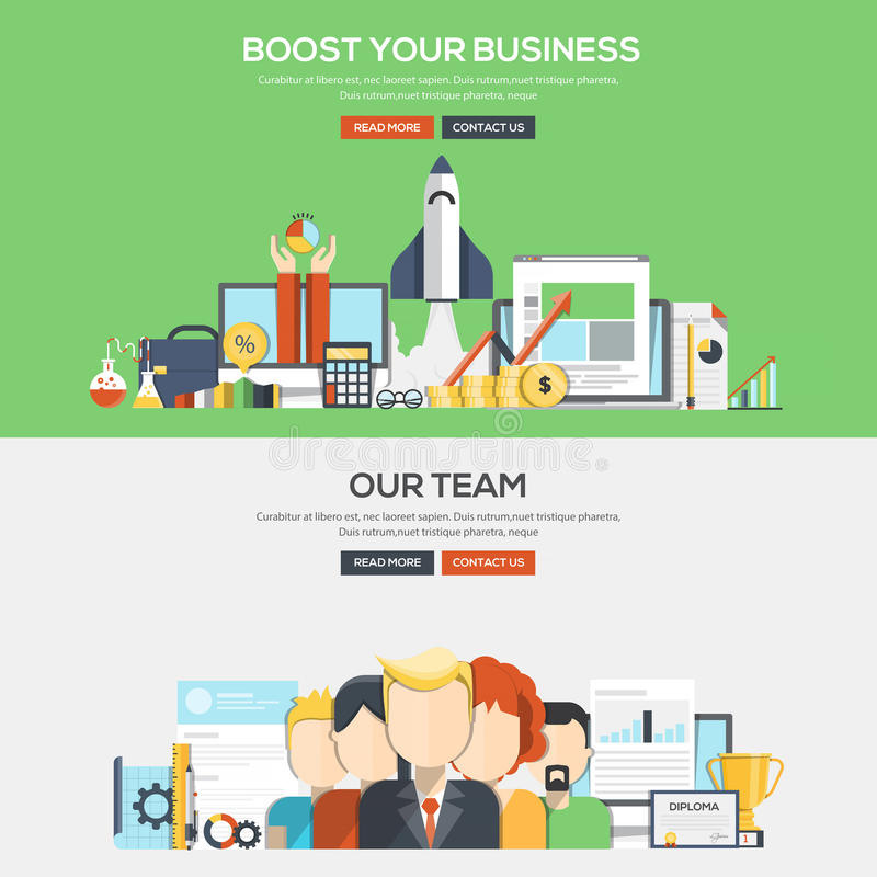 De vlakke banner van het ontwerpconcept - Bosst uw zaken en Ons Team stock illustratie