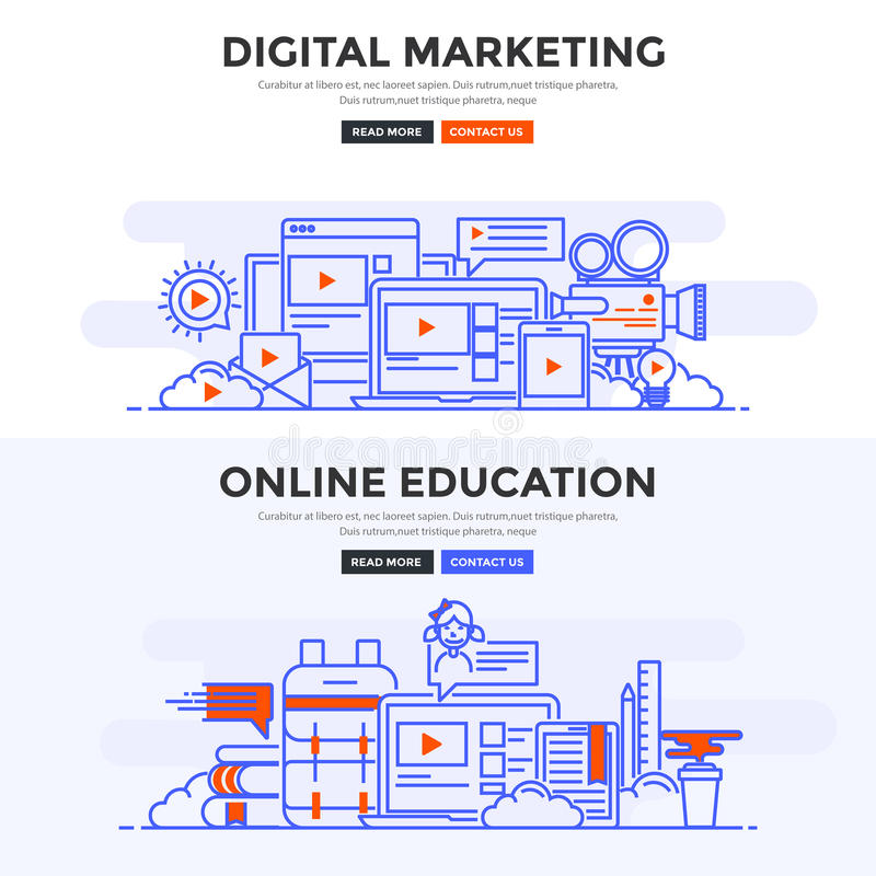 De vlakke banner van het ontwerpconcept - Digitale Marketing en Online educat vector illustratie
