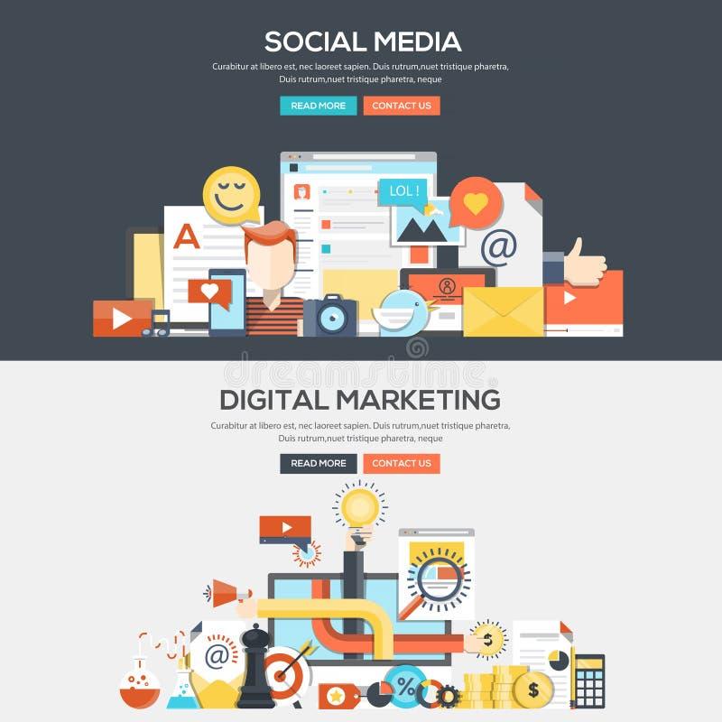 De vlakke banner van het ontwerpconcept - Sociale Media en Digitale Marketing stock afbeeldingen