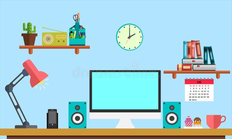 De vlakke banner van het werkplaatsweb De vlakke werkruimte van de ontwerpillustratie, concepten voor zaken, beheer, digitale str stock illustratie