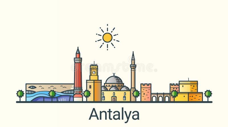 De vlakke banner van lijnantalya vector illustratie