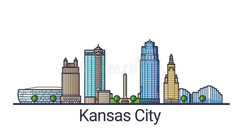 De vlakke banner van lijnkansas city royalty-vrije illustratie