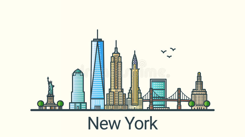 De vlakke banner van lijnnew york stock illustratie