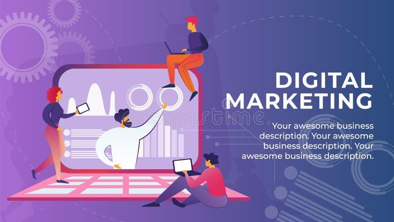 De vlakke Banner wordt geschreven Digitaal Marketing Beeldverhaal royalty-vrije illustratie