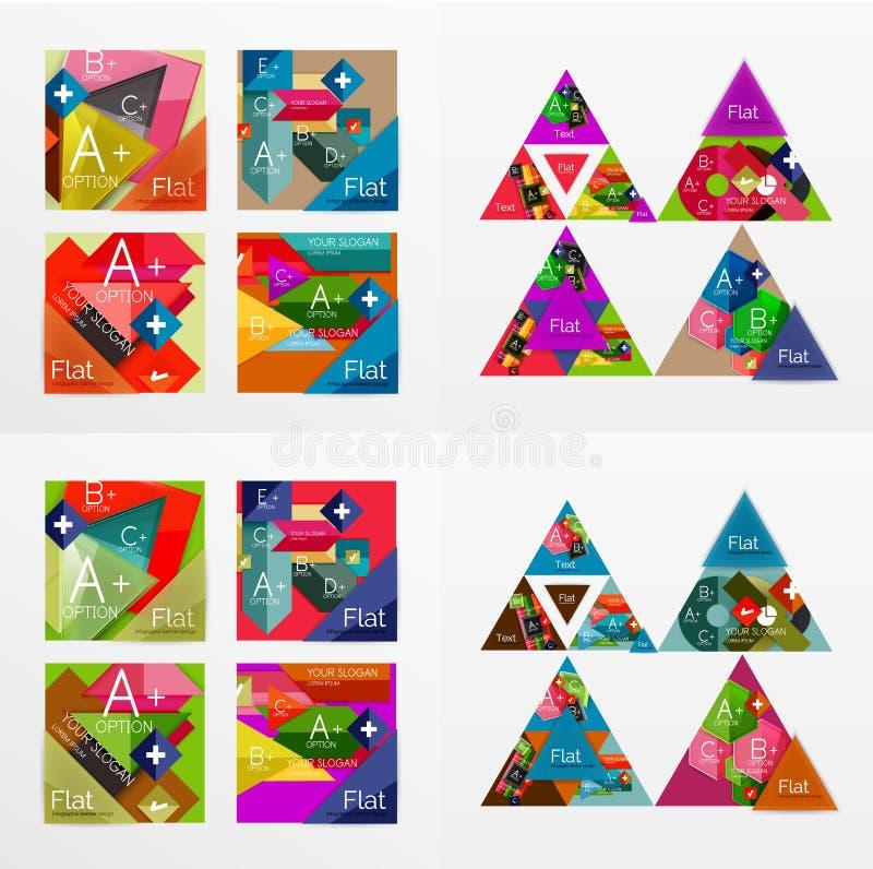 De vlakke banners van de ontwerp geometrische informatie, Webdozen vector illustratie