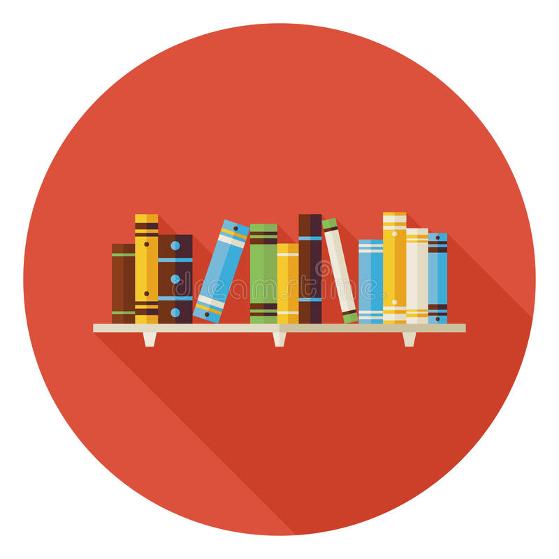 De vlakke Boeken van de Onderwijslezing met Boekenrekpictogram met Lange Shado vector illustratie