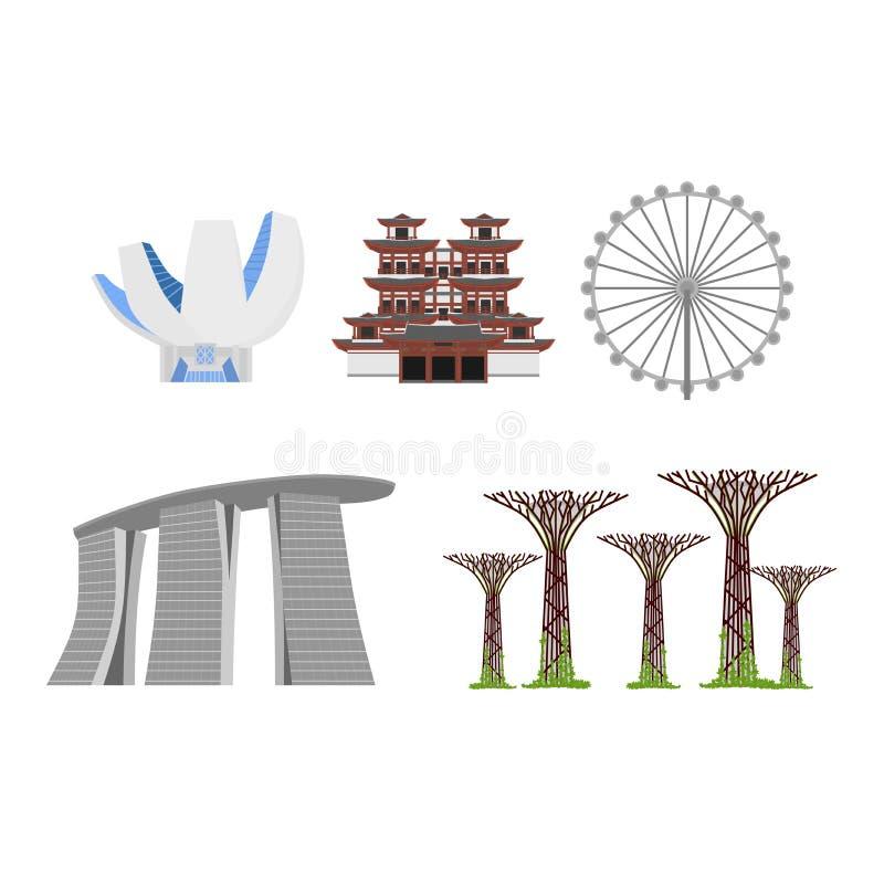 De vlakke bouw van Republiek van Singapore, het oriëntatiepunt van het reispictogram De architectuur van de stad De vakantie van  vector illustratie