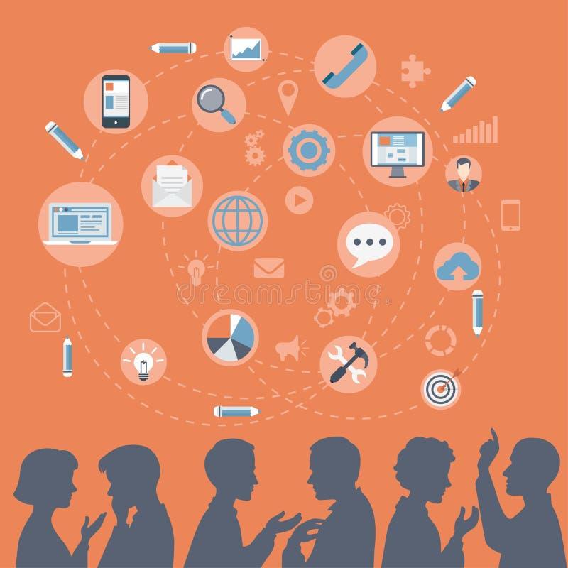 De vlakke brainstorming van mensensilhouetten, vergadering, roddelconcept royalty-vrije illustratie