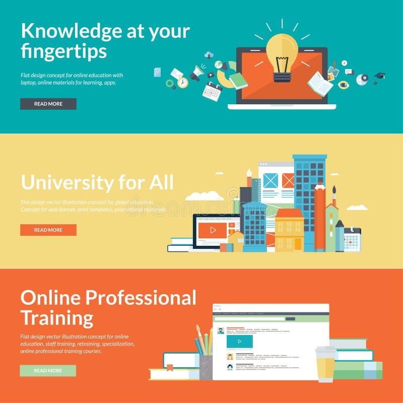De vlakke concepten van de ontwerp vectorillustratie voor online onderwijs royalty-vrije illustratie