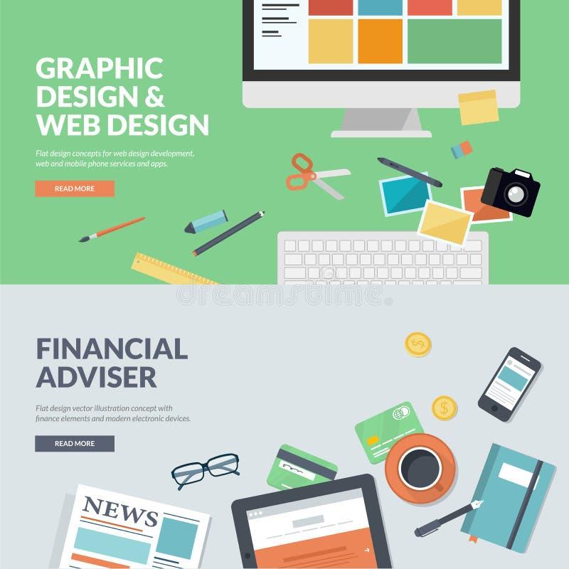 De vlakke concepten van de ontwerp vectorillustratie voor Webontwerp en financiën stock illustratie