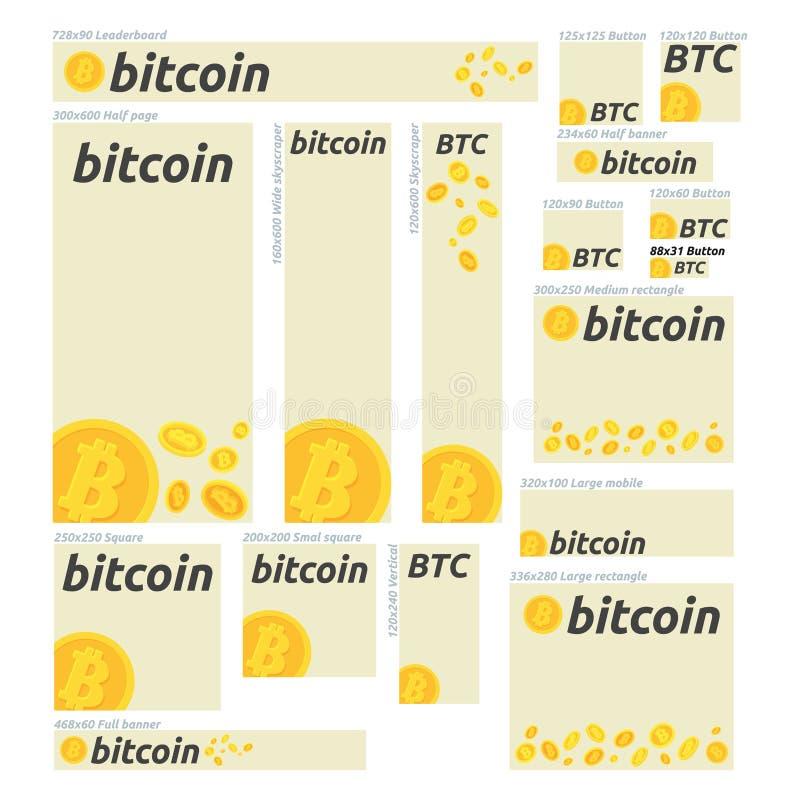 De vlakke concepten van de ontwerpbanner voor bitcoin, financiën, markt en financianieuws, het raadplegen die, m-belegt, online i stock afbeeldingen