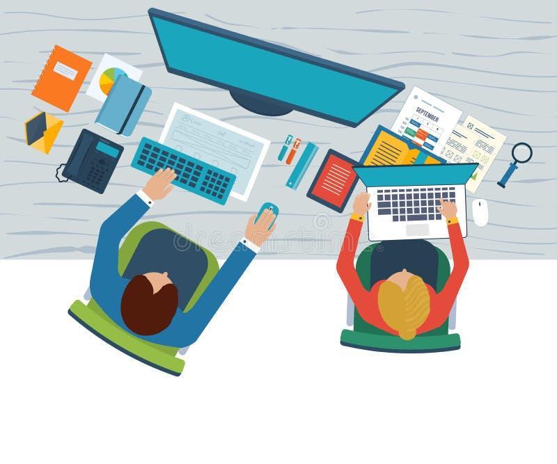 De vlakke concepten van de ontwerpillustratie voor bedrijfsanalyse van vergadering, het teamwerk, financieel verslag, projectleid royalty-vrije illustratie