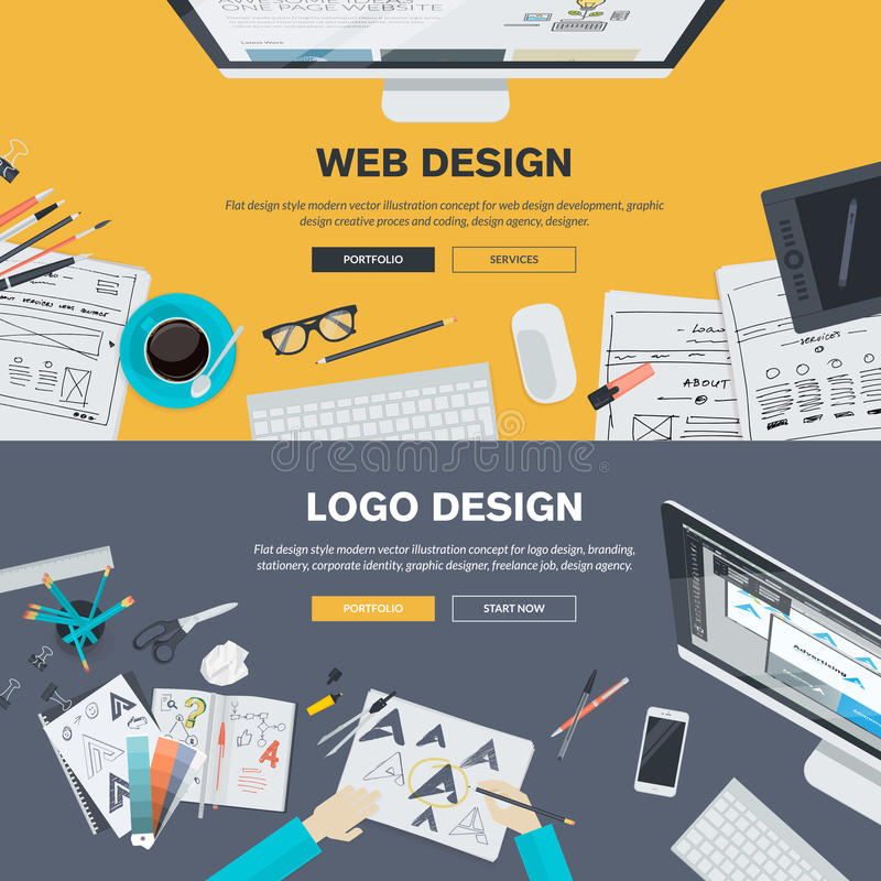 De vlakke concepten van de ontwerpillustratie voor de ontwikkeling van het Webontwerp, embleemontwerp vector illustratie