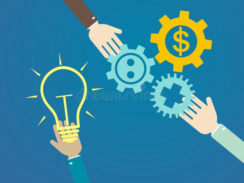 De vlakke concepten van de ontwerpillustratie voor idee, marketing, brainstor royalty-vrije illustratie