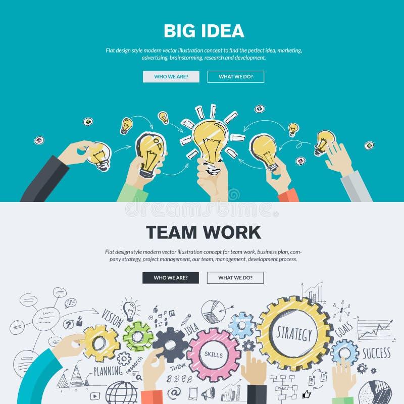 De vlakke concepten van de ontwerpillustratie voor zaken en marketing royalty-vrije illustratie