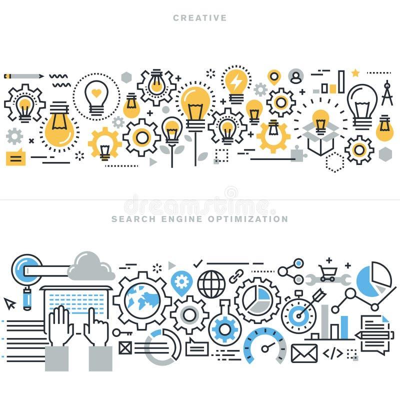 De vlakke concepten van het lijnontwerp voor creatieve proceswerkschema en SEO stock illustratie