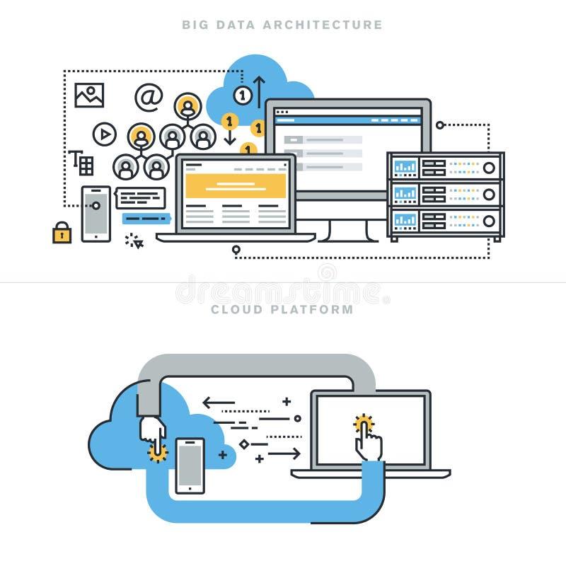 De vlakke concepten van het lijnontwerp voor grote gegevensarchitectuur en wolk gegevensverwerking royalty-vrije illustratie