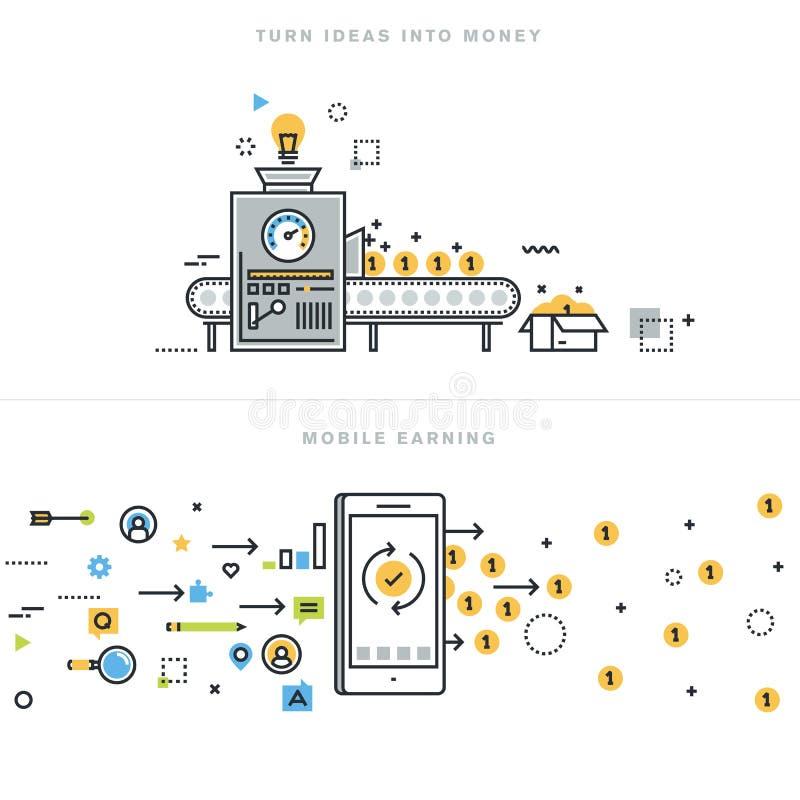 De vlakke concepten van het lijnontwerp voor online het verdienen en bedrijfsideeëntotstandbrenging stock illustratie