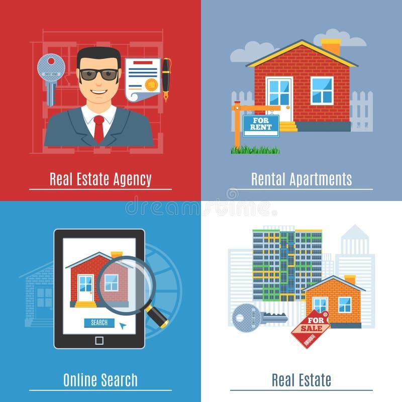 De Vlakke Concepten van Real Estate stock illustratie
