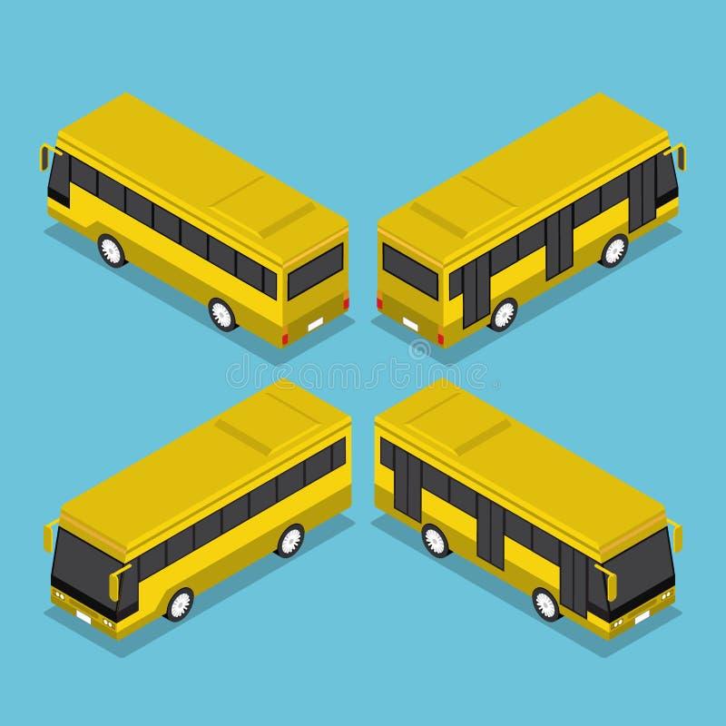 De vlakke 3d Isometrische Dienst van de Openbaar Vervoerbus vector illustratie