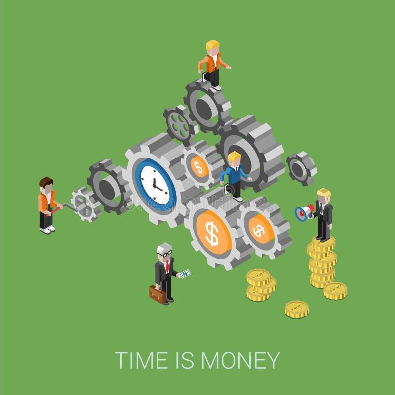 De vlakke 3d isometrische stijl moderne tijd is geld infographic concept royalty-vrije illustratie