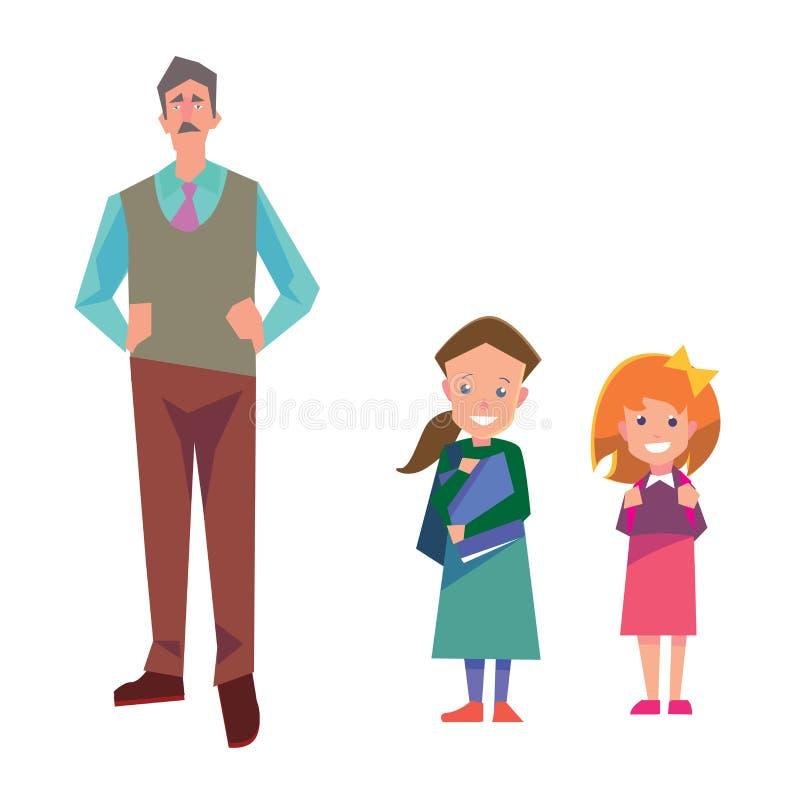 De vlakke die illustratie van het stijlonderwijs met leraar en studenten op wit wordt geïsoleerd De vectorinzameling van schoolme royalty-vrije illustratie