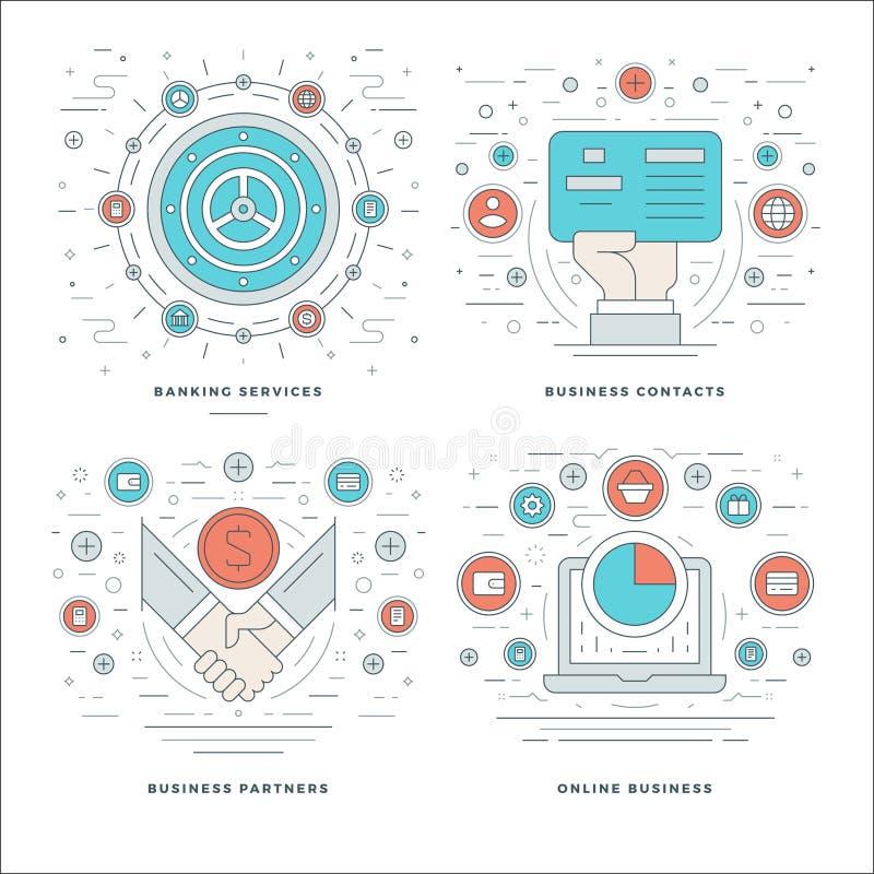 De vlakke Diensten van het lijnbankwezen, Contacten, Partners, Online Bedrijfsprocesconcepten plaatsen Vectorillustraties royalty-vrije illustratie