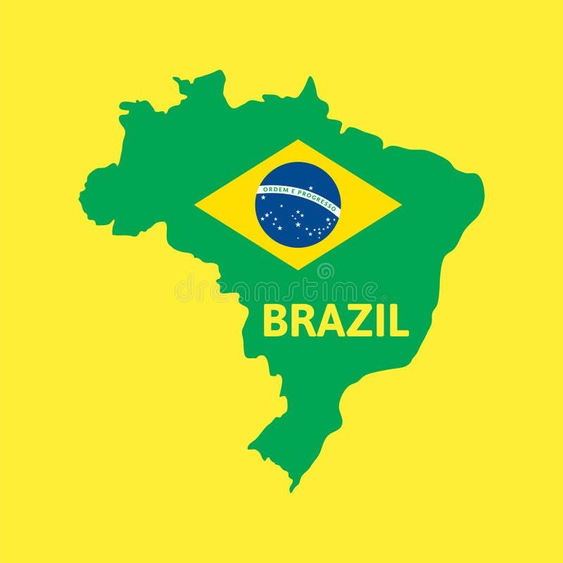 De vlakke eenvoudige kaart van Brazilië royalty-vrije illustratie