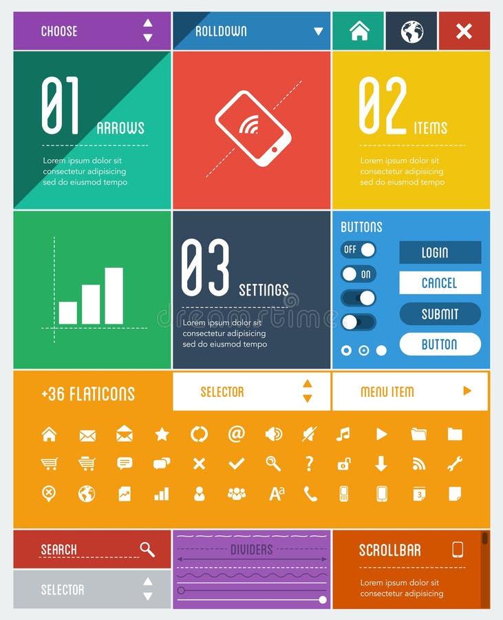 De vlakke elementen van het ontwerpgebruikersinterface vector illustratie