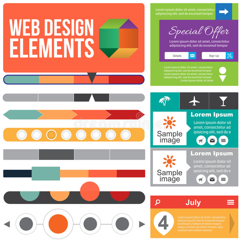 De vlakke elementen van het Webontwerp. stock illustratie