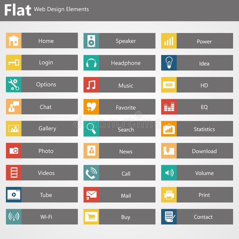 De vlakke elementen van het Webontwerp, knopen, pictogrammen. Malplaatjes voor website. vector illustratie