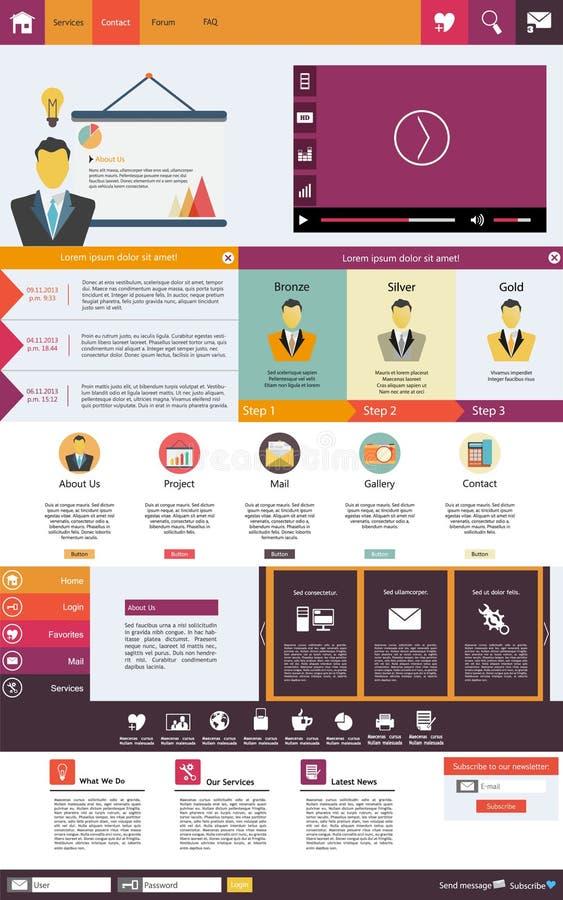 De vlakke elementen van het Webontwerp, knopen, pictogrammen. Websitemalplaatje. royalty-vrije illustratie