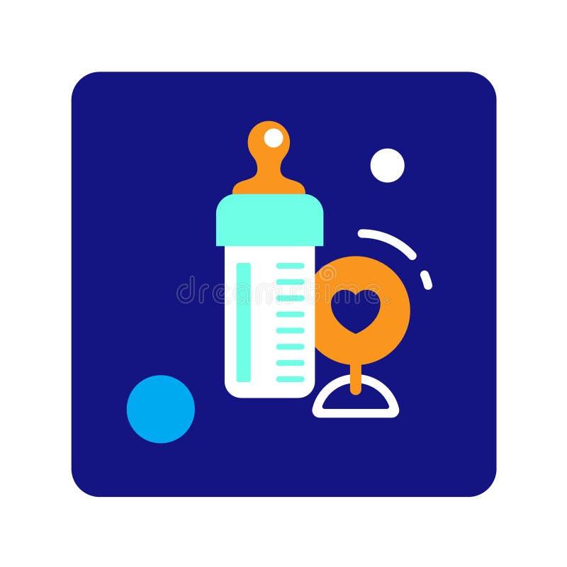 De vlakke fles van het kleurenpictogram met melk en stuk speelgoed Concept babyvoedsel en rammelaar vector illustratie
