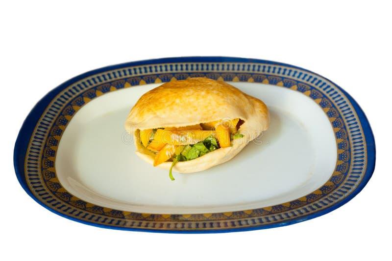 De vlakke Geïsoleerde Sandwich van de Frieten van het Brood stock foto