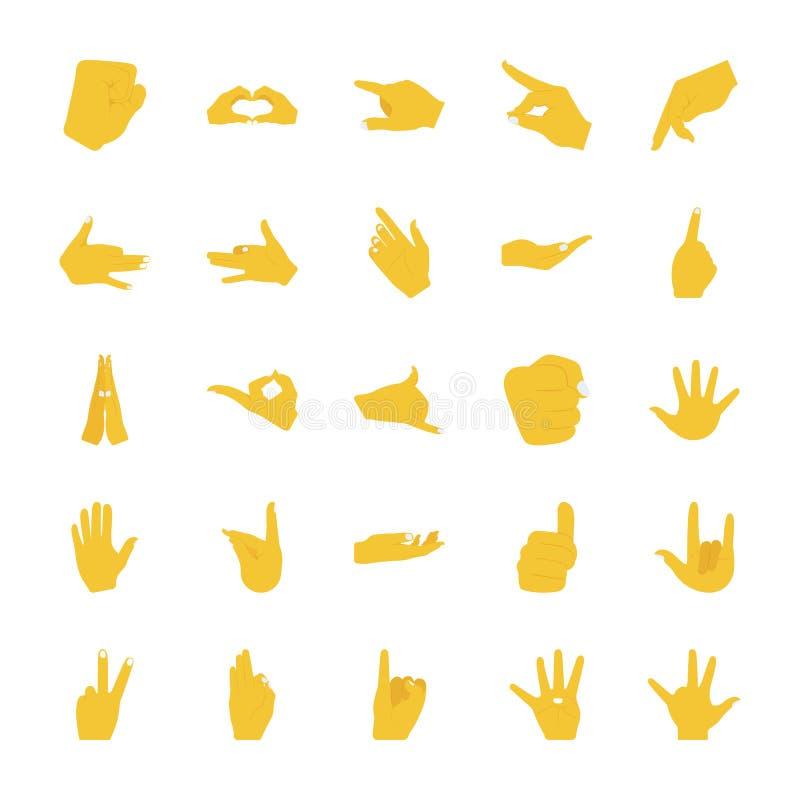 De vlakke Gebaren van de Pictogrammenhand stock illustratie