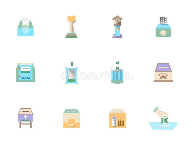 De vlakke geplaatste pictogrammen van de kleurenschenking stock illustratie