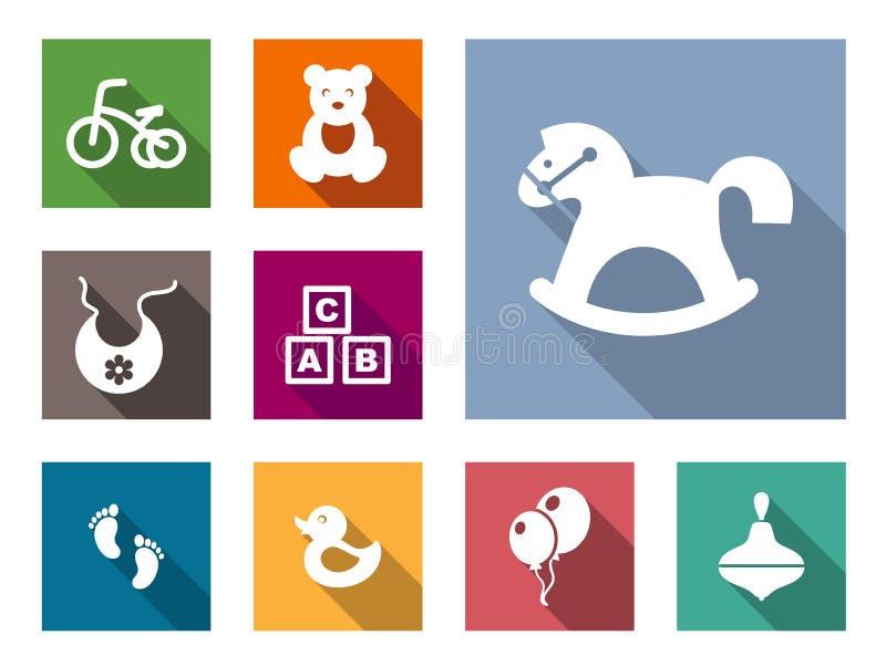 De vlakke geplaatste pictogrammen van het jong geitjemateriaal stock illustratie