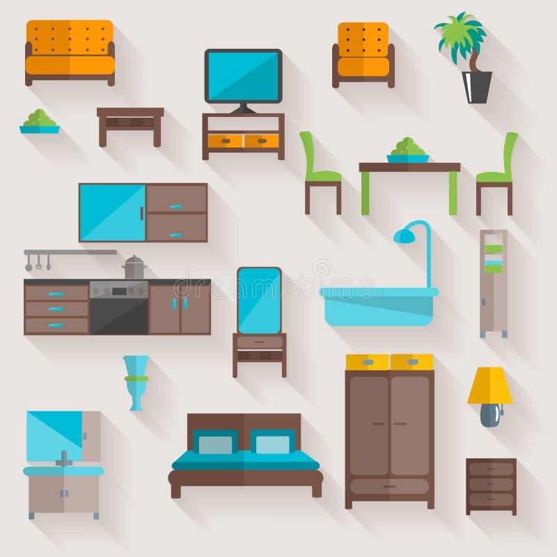 De vlakke geplaatste pictogrammen van het meubilairhuis royalty-vrije illustratie