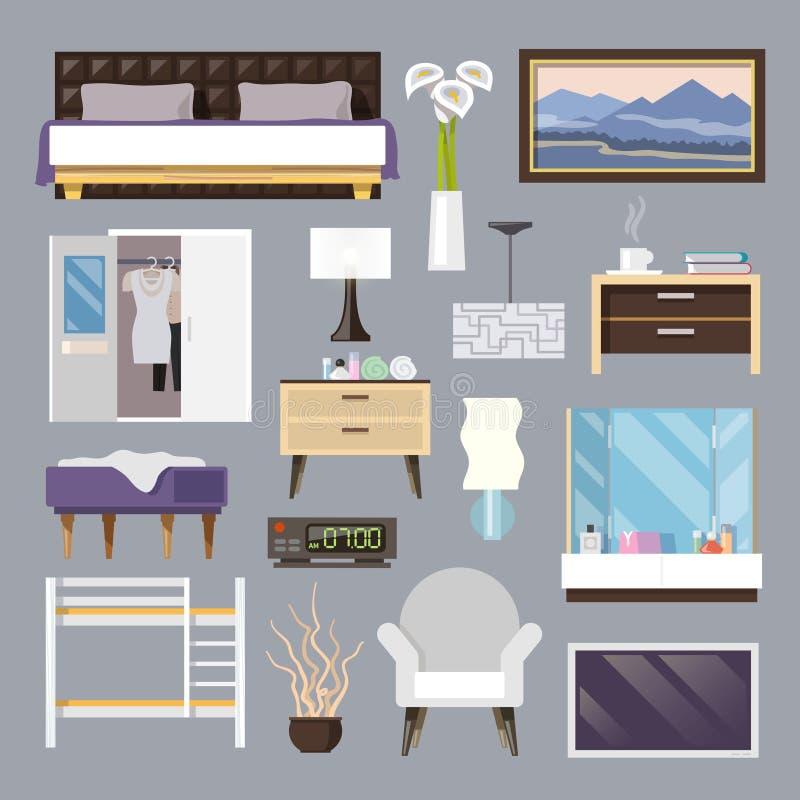 De Vlakke Geplaatste Pictogrammen van het slaapkamermeubilair vector illustratie