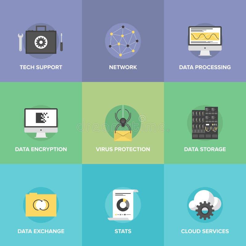 De vlakke geplaatste pictogrammen van netwerkdatadiensten vector illustratie