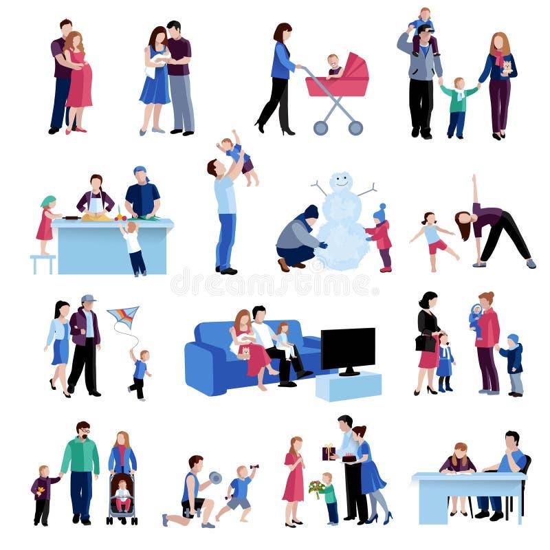 De vlakke geplaatste pictogrammen van ouderschapgezinssituaties stock illustratie