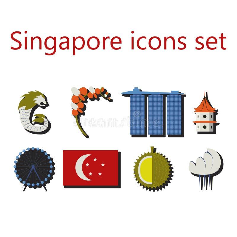 De vlakke geplaatste pictogrammen van Singapore stock illustratie