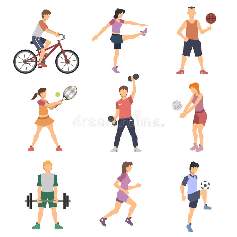 De Vlakke Geplaatste Pictogrammen van sportmensen stock illustratie