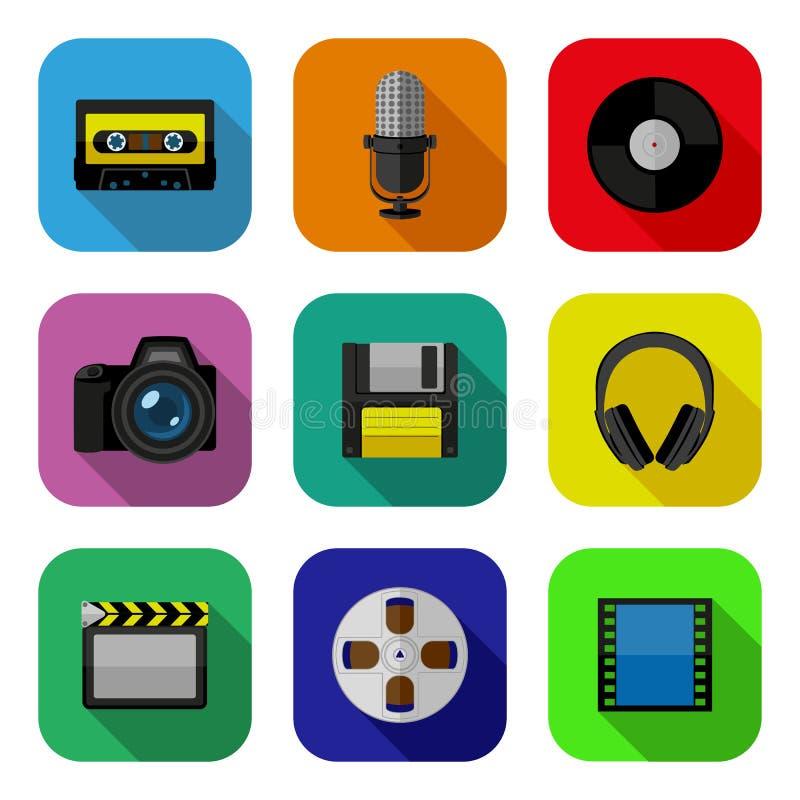 De vlakke geplaatste pictogrammen van verschillende media vector illustratie