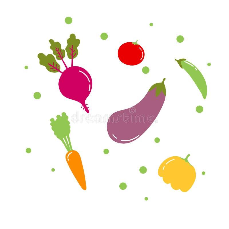 De vlakke geplaatste veggiespictogrammen bevat bieten, wortel, pompoen, tomaat, erwten, aubergine Elk geïsoleerd element vector illustratie