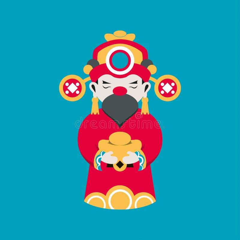 De vlakke god van lijnchainese van rijkdom of de fortuingod van Chainese houdt een gouden kubus voor goed geluk in hand stock illustratie